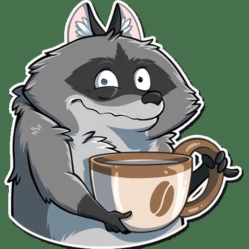 Енот Елисей с чашкой кофе